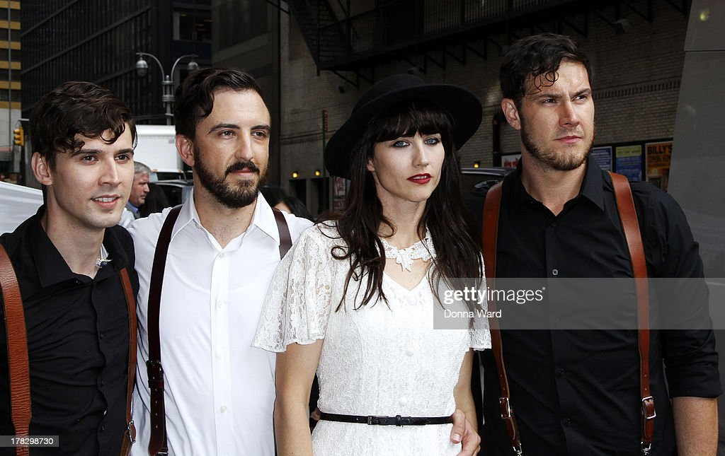 Jeremy Grant, Jeffrey Jacob, Angela Gail and Joshua Clair of In the Valley Below leave the 'Late Show with David Letterman' at Ed Sullivan Theater on August 28, 2013 in New York City.