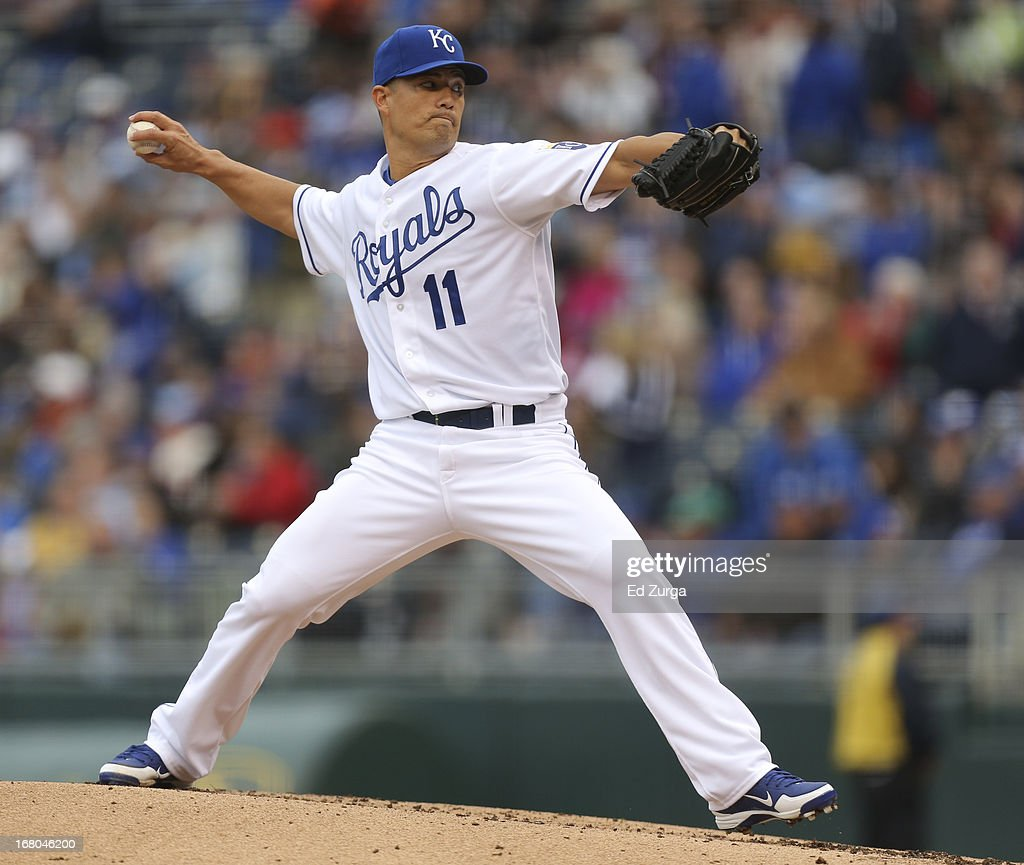 <a gi-track='captionPersonalityLinkClicked' href=/galleries/search?phrase=Jeremy+Guthrie&family=editorial&specificpeople=650221 ng-click='$event.stopPropagation()'>Jeremy Guthrie</a> #11 of the Kansas City Royals pitches against the Chicago White Sox in the second inning at Kauffman Stadium on May 4, 2013 in Kansas City, Missouri.