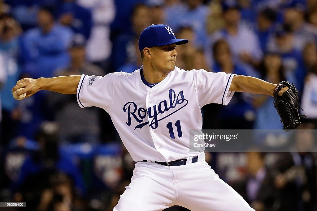 <a gi-track='captionPersonalityLinkClicked' href=/galleries/search?phrase=Jeremy+Guthrie&family=editorial&specificpeople=650221 ng-click='$event.stopPropagation()'>Jeremy Guthrie</a> #11 of the Kansas City Royals pitches against the San Francisco Giants in the first inning during Game Seven of the 2014 World Series at Kauffman Stadium on October 29, 2014 in Kansas City, Missouri.