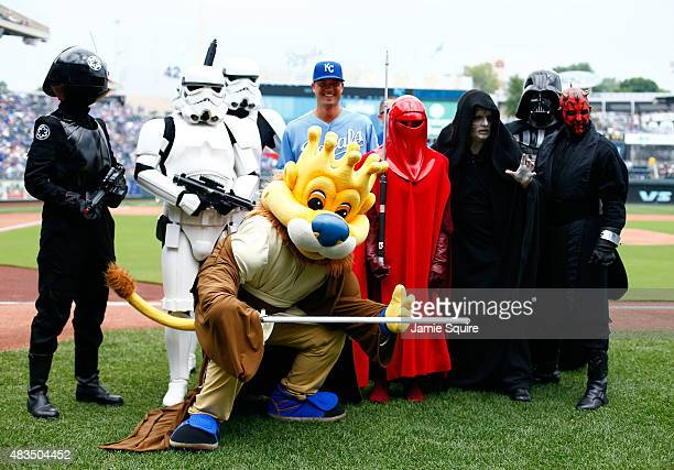 Jeremy Guthrie of the Kansas City Royals poses with Star Wars characters on Star Wars Day prior to the game against the Chicago White Sox at Kauffman...