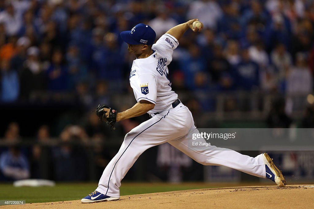 <a gi-track='captionPersonalityLinkClicked' href=/galleries/search?phrase=Jeremy+Guthrie&family=editorial&specificpeople=650221 ng-click='$event.stopPropagation()'>Jeremy Guthrie</a> #11 of the Kansas City Royals throws a pitch in the first inning against the Baltimore Orioles during Game Three of the American League Championship Series at Kauffman Stadium on October 14, 2014 in Kansas City, Missouri.