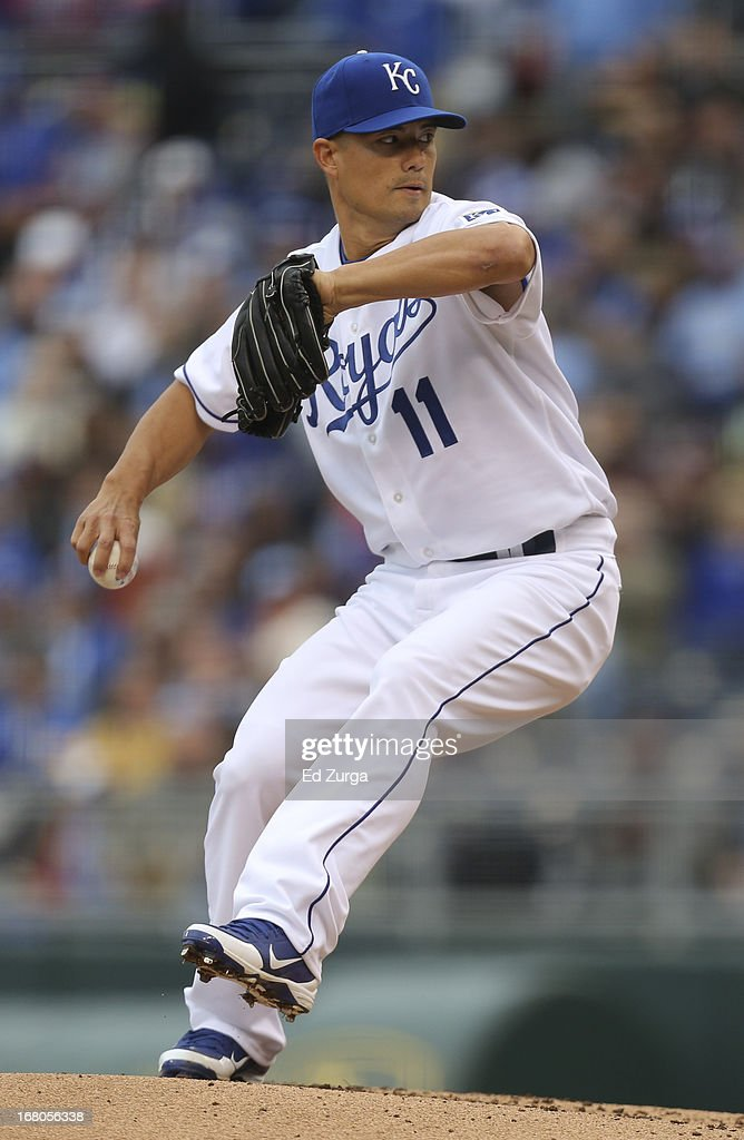 <a gi-track='captionPersonalityLinkClicked' href=/galleries/search?phrase=Jeremy+Guthrie&family=editorial&specificpeople=650221 ng-click='$event.stopPropagation()'>Jeremy Guthrie</a> #11 of the Kansas City Royals throws against the Chicago White Sox in the first inning at Kauffman Stadium on May 4, 2013 in Kansas City, Missouri. Guthrie pitches a 2-0 complete game shutout.