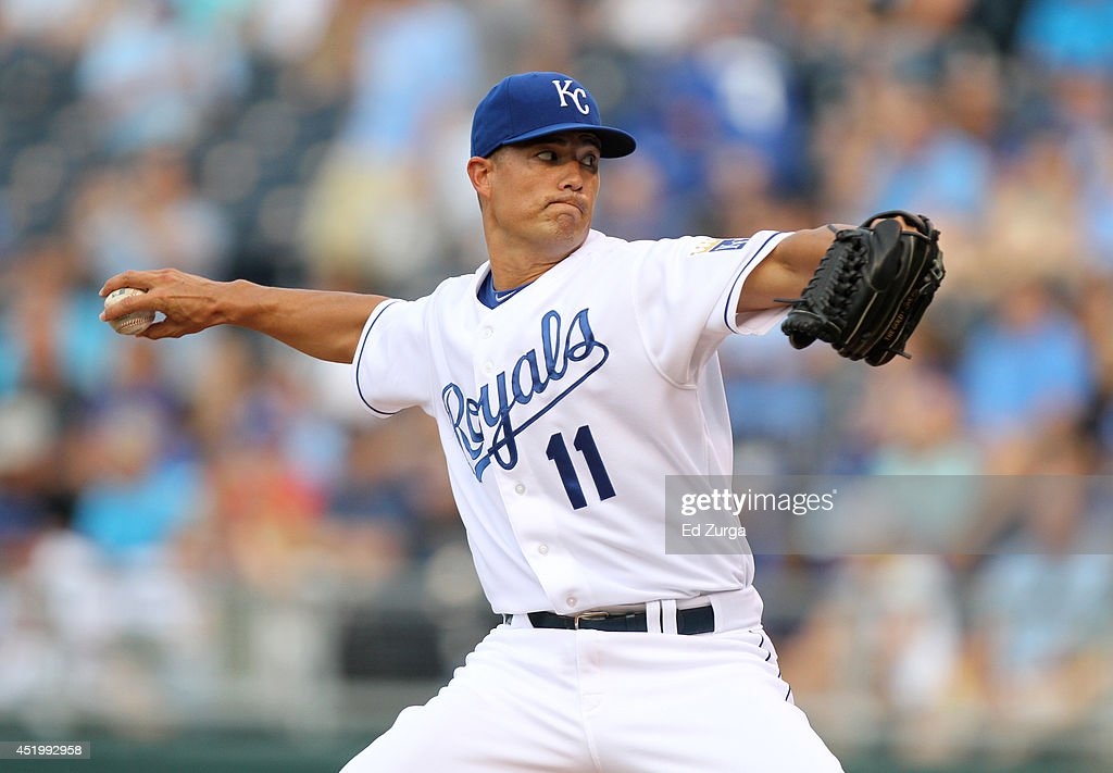Jeremy Guthrie #11 of the Kansas City Royals throws in the first inning during a game against the Detroit Tigers at Kauffman Stadium on July 10, 2014 at Kauffman Stadium in Kansas City, Missouri.
