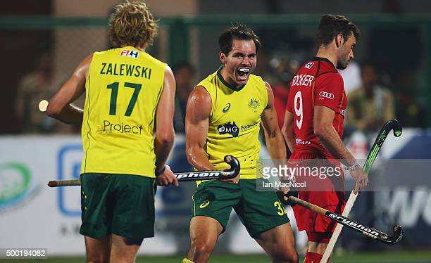 Jeremy Hayward of Australia celebrates scoring during the final match between Australia and Belgium on day ten of The Hero Hockey League World Final...