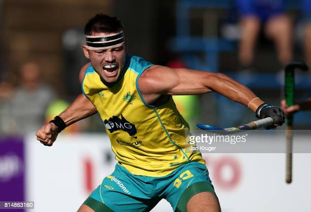 Jeremy Hayward of Australia celebrates scoring the winning goal during day 4 of the FIH Hockey World League Men's Semi Finals Pool A match between...