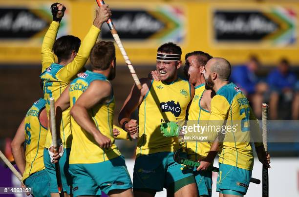 Jeremy Hayward of Australia celebrates scoring the winning goal with team mates during day 4 of the FIH Hockey World League Men's Semi Finals Pool A...