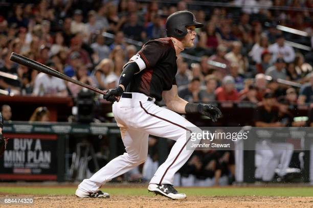 Jeremy Hazelbaker of the Arizona Diamondbacks at bat in the eighth inning against the Cleveland Indians at Chase Field on April 8 2017 in Phoenix...