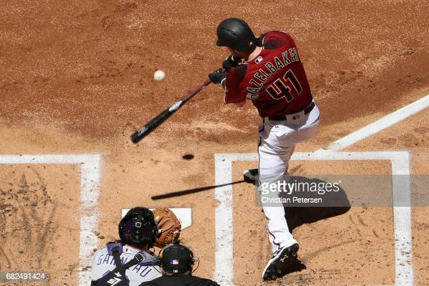 Jeremy Hazelbaker of the Arizona Diamondbacks bats against the Colorado Rockies during the first inning of the MLB game at Chase Field on April 30...