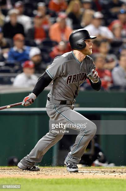 Jeremy Hazelbaker of the Arizona Diamondbacks hits a home run in the ninth inning against the Washington Nationals at Nationals Park on May 2 2017 in...