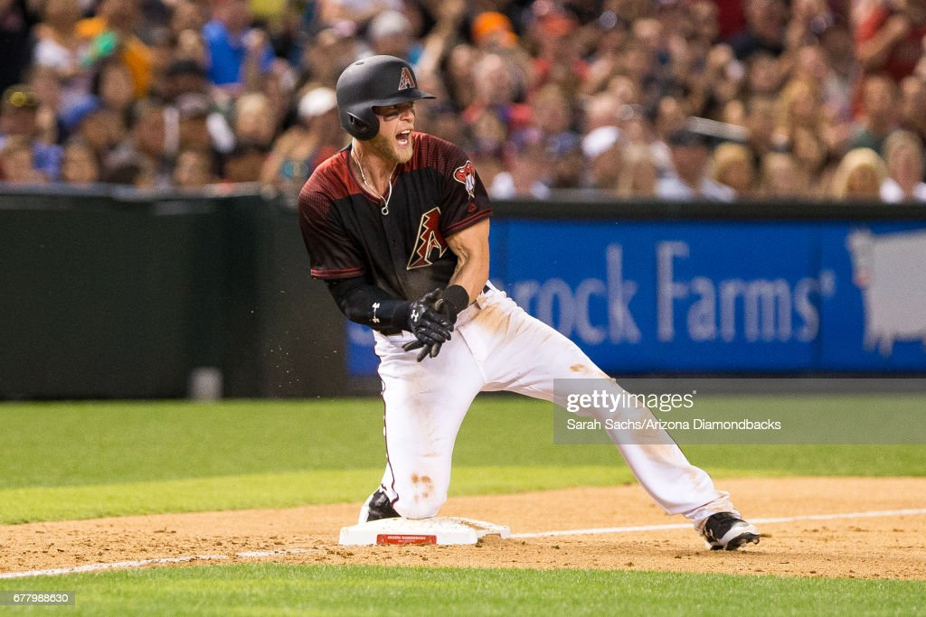 Jeremy Hazelbaker #41 of the Arizona Diamondbacks reacts after advancing to third during a game against the Cleveland Indians at Chase Field on April 8, 2017 in Phoenix, Arizona.