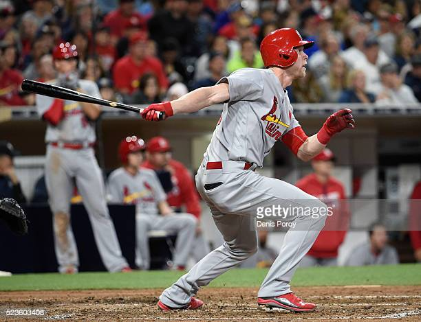 Jeremy Hazelbaker of the St Louis Cardinals hits a threerun home run during the seventh inning of a baseball game against the San Diego Padres at...
