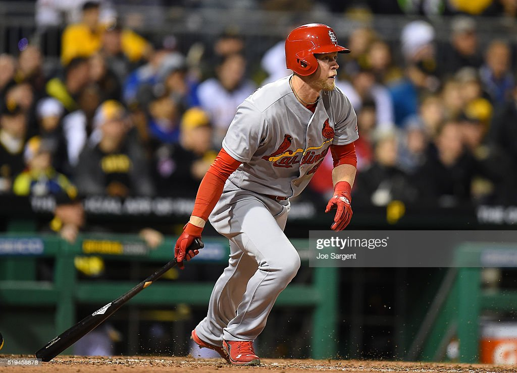 Jeremy Hazelbaker #41 of the St. Louis Cardinals watches his first career home run during the sixth inning against the Pittsburgh Pirates on April 6, 2016 at PNC Park in Pittsburgh, Pennsylvania.