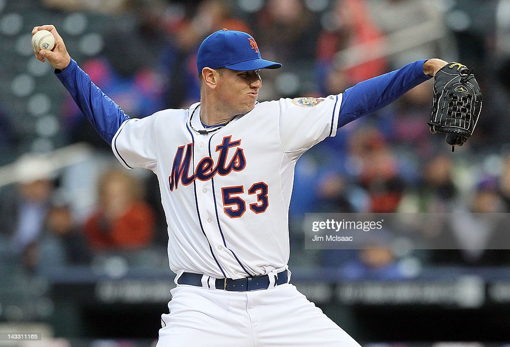 Jeremy Hefner #53 of the New York Mets pitches against the San Francisco Giants at Citi Field on April 23, 2012 in the Flushing neighborhood of the Queens borough of New York City.