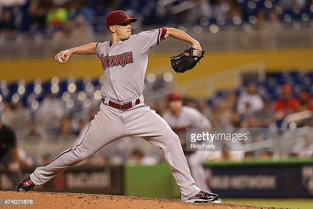 Jeremy Hellickson of the Arizona Diamondbacks pitches during the game against the Miami Marlins at Marlins Park on May 19 2015 in Miami Florida