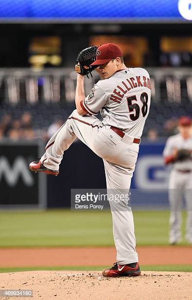 Jeremy Hellickson of the Arizona Diamondbacks pitches during the first inning of a baseball game against the San Diego Padres at Petco Park April 14...