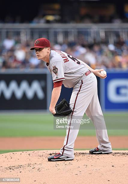 Jeremy Hellickson of the Arizona Diamondbacks pitches during the first inning of a baseball game against the Arizona Diamondbacks at Petco Park June...