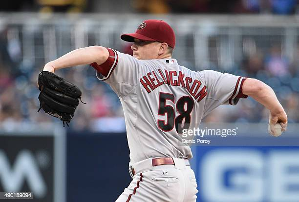 Jeremy Hellickson of the Arizona Diamondbacks pitches during the first inning of a baseball game against the San Diego Padres at Petco Park September...