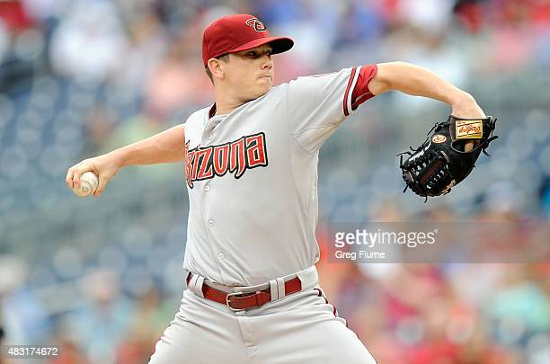 Jeremy Hellickson of the Arizona Diamondbacks pitches in the first inning against the Washington Nationals at Nationals Park on August 6 2015 in...