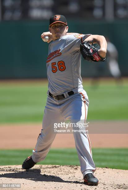 Jeremy Hellickson of the Baltimore Orioles pitches against the Oakland Athletics in the bottom of the first inning at Oakland Alameda Coliseum on...