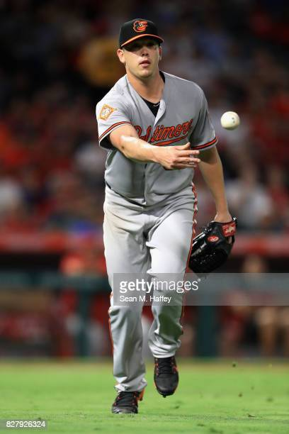 Jeremy Hellickson of the Baltimore Orioles tosses to first for the out after Andrelton Simmons of the Los Angeles Angels of Anaheim hit back to the...