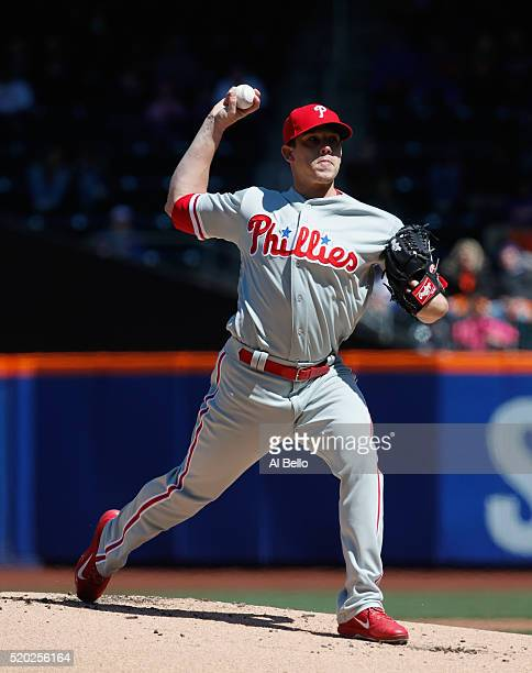 Jeremy Hellickson of the Philadelphia Phillies pitches against the New York Mets during their game at Citi Field on April 10 2016 in New York City