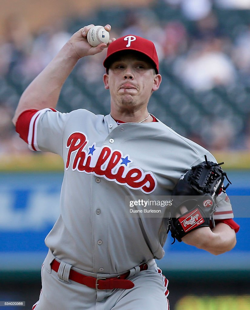 <a gi-track='captionPersonalityLinkClicked' href=/galleries/search?phrase=Jeremy+Hellickson&family=editorial&specificpeople=2364859 ng-click='$event.stopPropagation()'>Jeremy Hellickson</a> #58 of the Philadelphia Phillies pitches against the Detroit Tigers during the first inning at Comerica Park on May 24, 2016 in Detroit, Michigan.