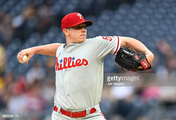 Jeremy Hellickson of the Philadelphia Phillies pitches during the first inning against the Pittsburgh Pirates at PNC Park on May 19 2017 in...