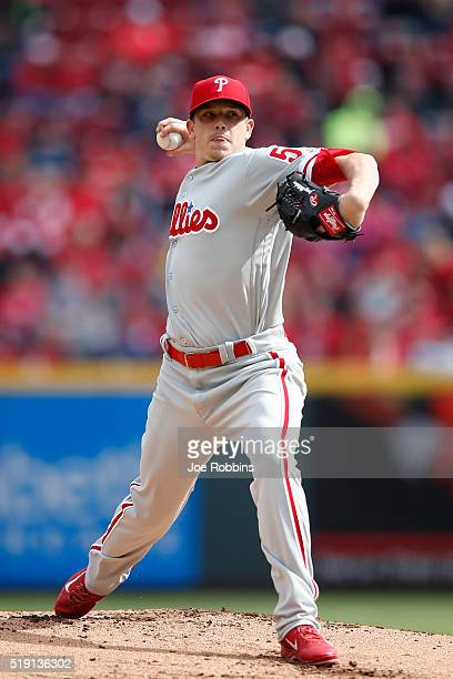 Jeremy Hellickson of the Philadelphia Phillies pitches in the first inning of the opening day game against the Cincinnati Reds at Great American Ball...