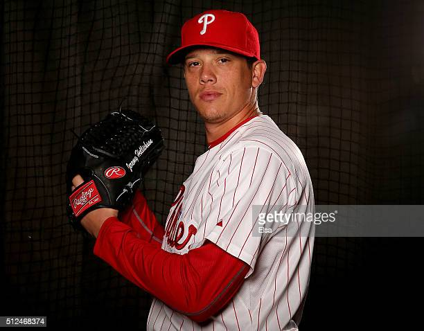 Jeremy Hellickson of the Philadelphia Phillies poses for a portrait on February 26 2016 at Bright House Field in Clearwater Florida