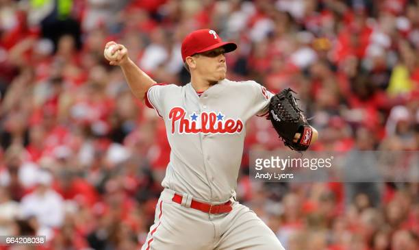 Jeremy Hellickson of the Philadelphia Phillies throws a pitch against the Cincinnati Reds on Opening Day for both team at Great American Ball Park on...