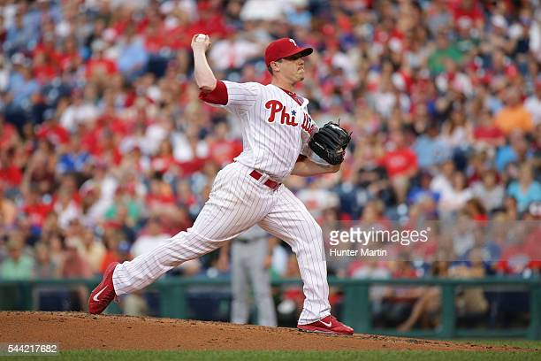 Jeremy Hellickson of the Philadelphia Phillies throws a pitch in the second inning during a game against the Kansas City Royals at Citizens Bank Park...