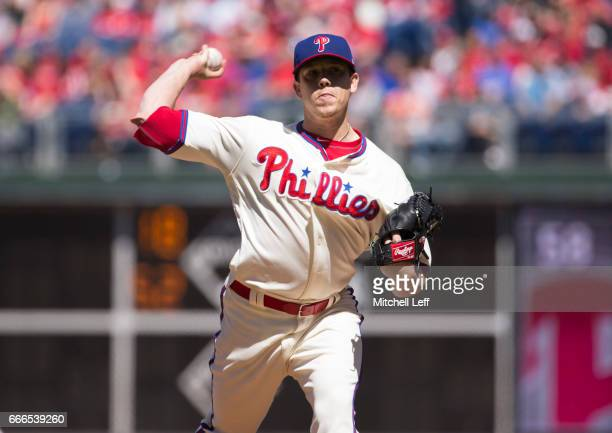 Jeremy Hellickson of the Philadelphia Phillies throws a pitch in the top of the first inning against the Washington Nationals at Citizens Bank Park...