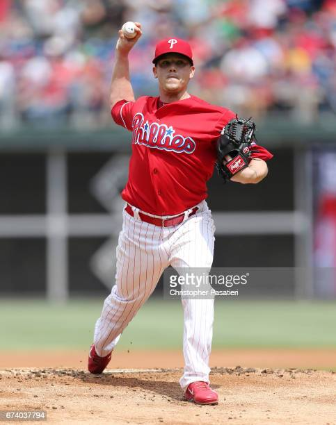 Jeremy Hellickson of the Philadelphia Phillies throws a pitch in the top of the first inning against the Miami Marlins on April 27 2017 at Citizens...
