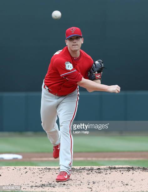 Jeremy Hellickson of the Philadelphia Phillies warms up prior to the start of the Spring Training Game against the Baltimore Orioles on March 13 2017...