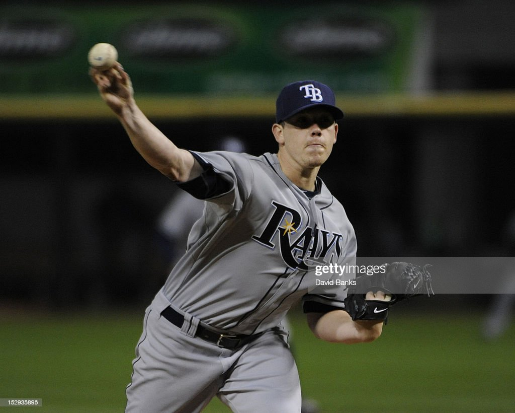 <a gi-track='captionPersonalityLinkClicked' href=/galleries/search?phrase=Jeremy+Hellickson&family=editorial&specificpeople=2364859 ng-click='$event.stopPropagation()'>Jeremy Hellickson</a> #58 of the Tampa Bay Rays pitches against the Chicago White Sox in the fist inning on September 28, 2012 at U.S. Cellular Field in Chicago, Illinois.