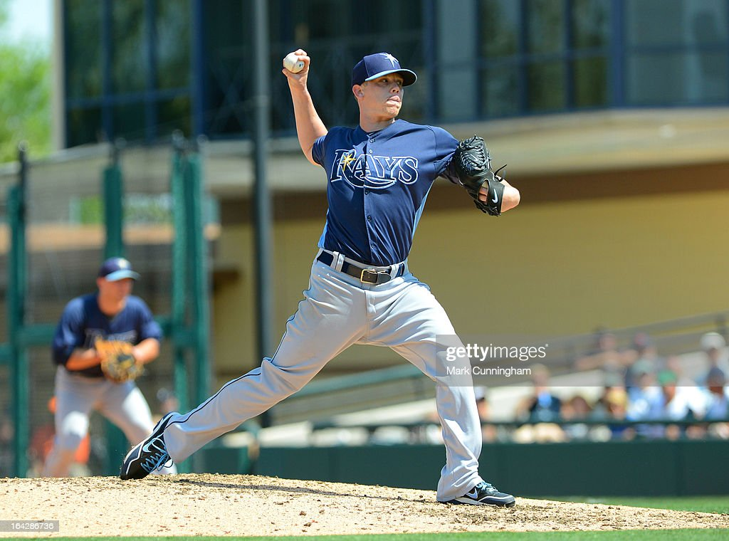 <a gi-track='captionPersonalityLinkClicked' href=/galleries/search?phrase=Jeremy+Hellickson&family=editorial&specificpeople=2364859 ng-click='$event.stopPropagation()'>Jeremy Hellickson</a> #58 of the Tampa Bay Rays pitches during the spring training game against the Detroit Tigers at Joker Marchant Stadium on March 19, 2013 in Lakeland, Florida. The Rays defeated the Tigers 11-5.