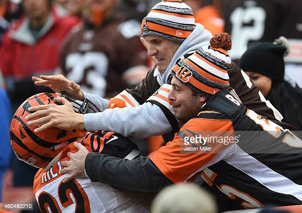 Jeremy Hill of the Cincinnati Bengals attempts to celebrate his touchdown with fans during the second quarter against the Cleveland Browns at...