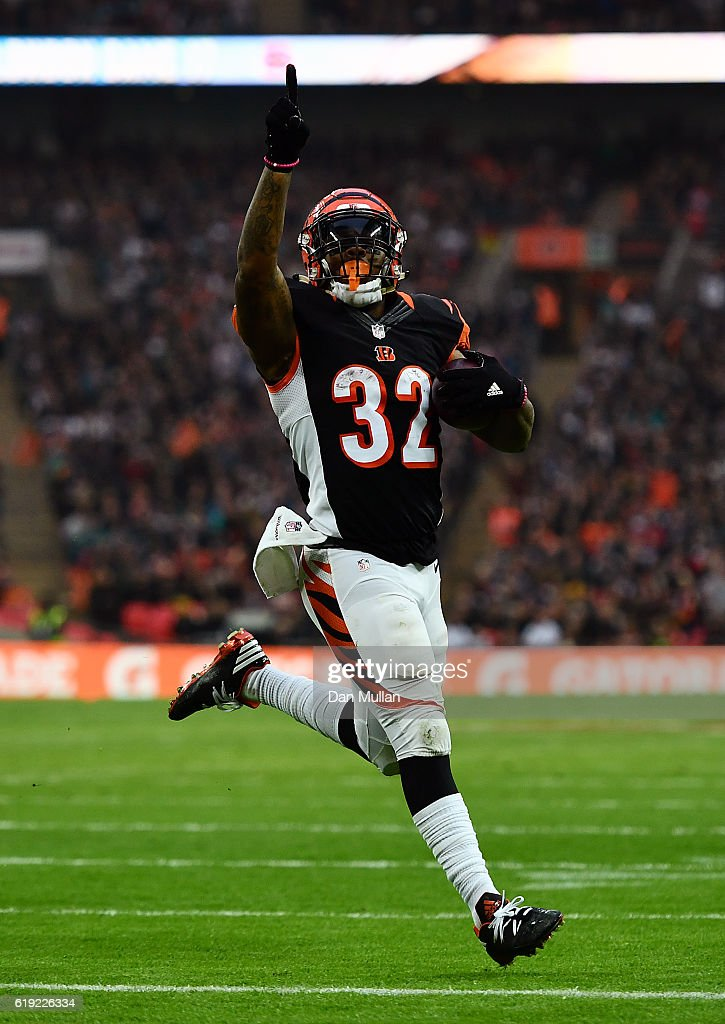 Jeremy Hill #32 of the Cincinnati Bengals celebrates as he runs in for a touchdown during the NFL International Series Game between Washington Redskins and Cincinnati Bengals at Wembley Stadium on October 30, 2016 in London, England.