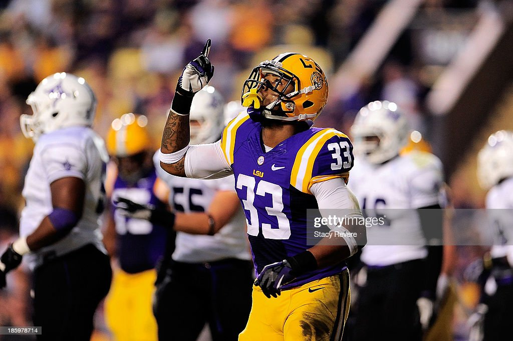 Jeremy Hill #33 of the LSU Tigers reacts to a touchdown against the Furman Paladins during a game at Tiger Stadium on October 26, 2013 in Baton Rouge, Louisiana. LSU won the game 48-16.