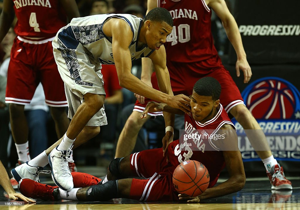 Jeremy Hollowell #33 of the Indiana Hoosiers and Otto Porter #22 of the Georgetown Hoyas fight for the loose ball during the Championship Game of the Legends Classic on November 20,2012 at the Barclays Center in the Brooklyn borough of New York City.