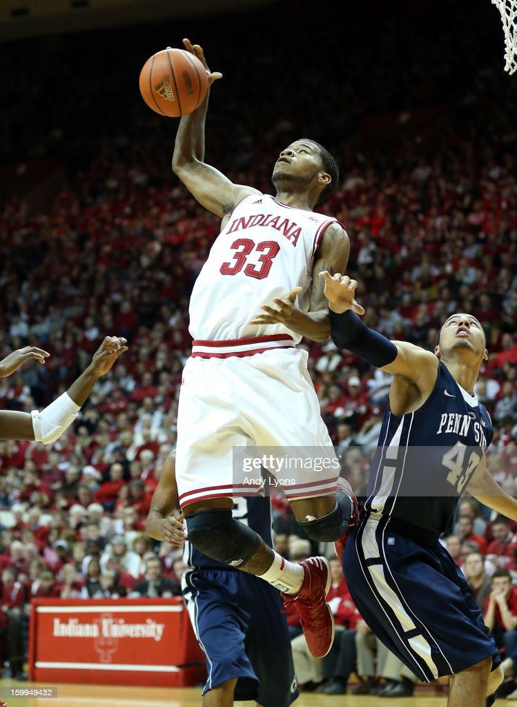 Jeremy Hollowell #33 of the Indiana Hoosiers grabs a rebound during the game against the Penn State Nittany Lions at Assembly Hall on January 23, 2013 in Bloomington, Indiana.