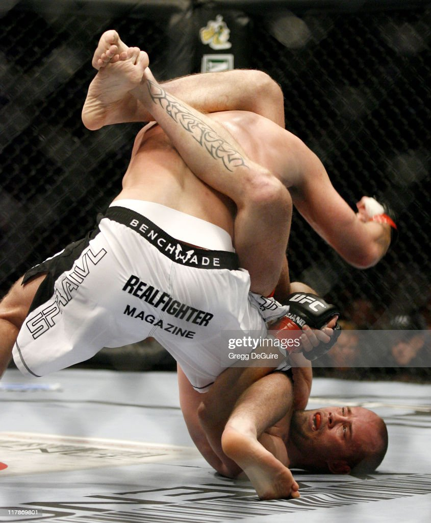Jeremy Horn and <a gi-track='captionPersonalityLinkClicked' href=/galleries/search?phrase=Chael+Sonnen&family=editorial&specificpeople=5434559 ng-click='$event.stopPropagation()'>Chael Sonnen</a> during Ultimate Fighting Championship 60 - Hughes vs Gracie at Staples Center in Los Angeles, California, United States.