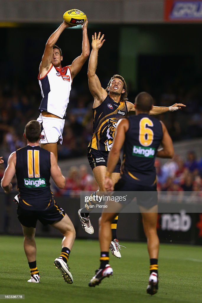 Jeremy Howe of the Demons marks during the round one AFL NAB Cup match between the Richmond Tigers and the Melbourne Demons at Etihad Stadium on February 22, 2013 in Melbourne, Australia.