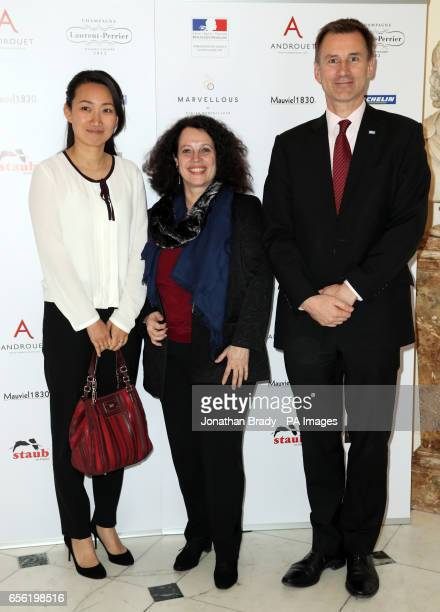 Jeremy Hunt accompanied by his wife Lucia are greeted by French Ambassador Sylvie Bermann as she attends the annual Gout de France dinner at the...