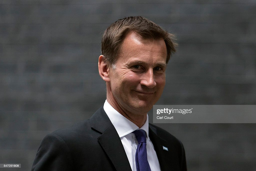 Jeremy Hunt arrives to meet Prime Minister Theresa May where he kept his position as Health Secretary, at Downing Street on July 14, 2016 in London, England. The UK's New Prime Minister began appointing the key Ministerial positions in her cabinet shortly after taking up residence at Number 10 Downing Street. She has appointed Philip Hammond as Chancellor and George Osborne has resigned.