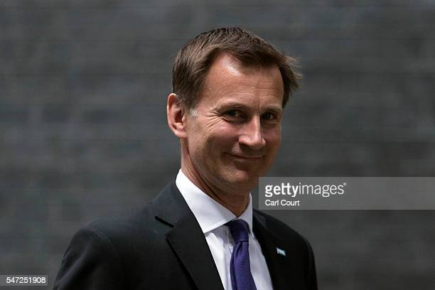 Jeremy Hunt arrives to meet Prime Minister Theresa May where he kept his position as Health Secretary at Downing Street on July 14 2016 in London...