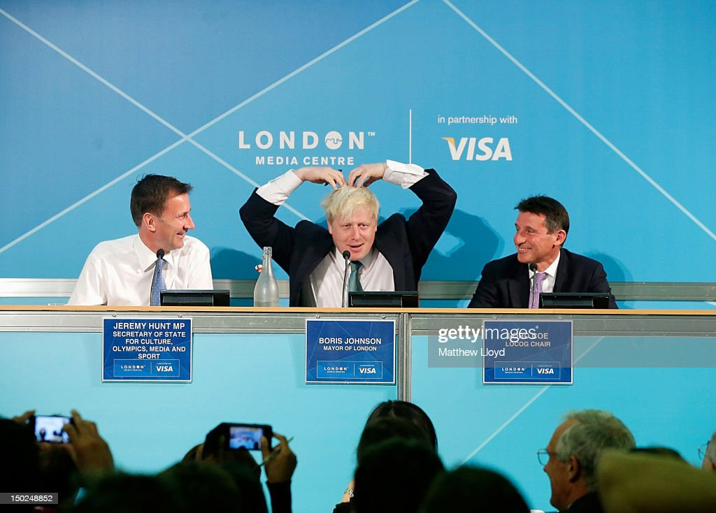 Jeremy Hunt, Secretary of State for Culture, Olympics, Media and Sport, <a gi-track='captionPersonalityLinkClicked' href=/galleries/search?phrase=Boris+Johnson&family=editorial&specificpeople=209016 ng-click='$event.stopPropagation()'>Boris Johnson</a>, Mayor of London and Lord <a gi-track='captionPersonalityLinkClicked' href=/galleries/search?phrase=Sebastian+Coe&family=editorial&specificpeople=160624 ng-click='$event.stopPropagation()'>Sebastian Coe</a>, Chair of LOCOG, hold a press conference at the Olympics Media Centre on August 13, 2012 in London, England. The London 2012 Olympic Games have drawn to a close, but the Paralympic games, commencing on the 29th August are expected to achieve record ticket levels.
