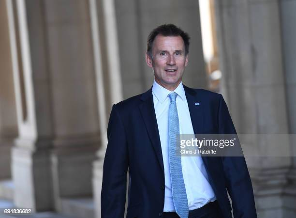 Jeremy Hunt secretary of State for Health arrives at 10 Downing Street on June 11 2017 in London England Prime Minister Theresa May Reshuffles her...