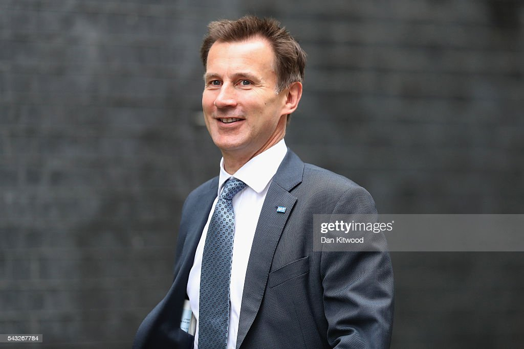 Jeremy Hunt, Secretary of State for Health arrives for a cabinet meeting at Downing Street on June 27, 2016 in London, England. British Prime Minister David Cameron is due to chair an emergency Cabinet meeting this morning, after Britain voted to leave the European Union. Chancellor George Osborne spoke at a press conference ahead of the start of financial trading and outlining how the Government will 'protect the national interest' after the UK voted to leave the EU.