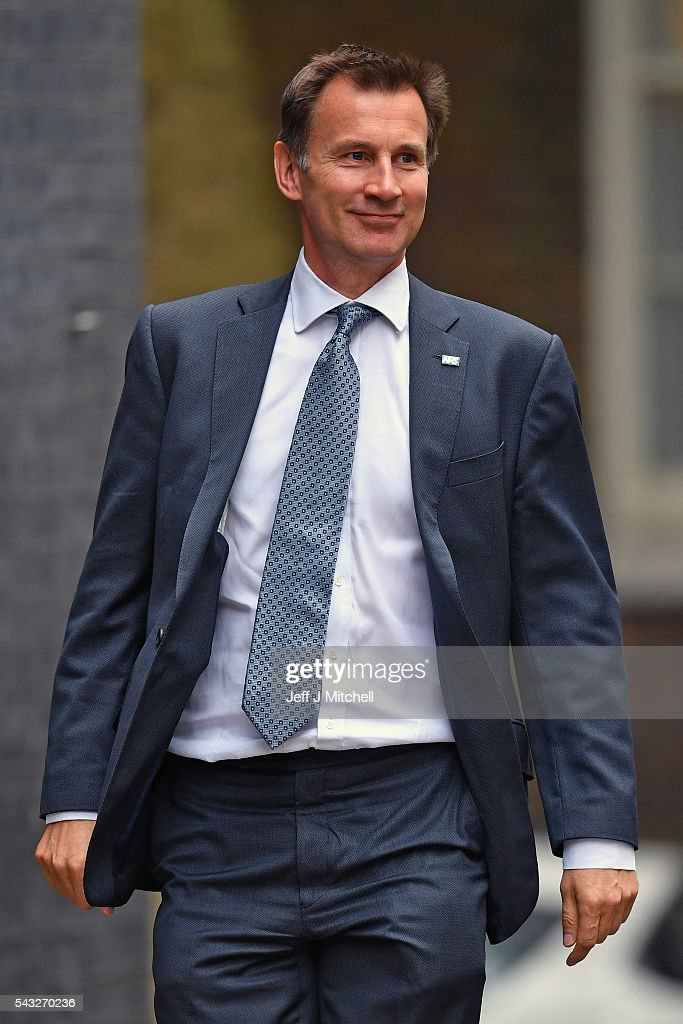 <a gi-track='captionPersonalityLinkClicked' href=/galleries/search?phrase=Jeremy+Hunt+-+Politician&family=editorial&specificpeople=9161543 ng-click='$event.stopPropagation()'>Jeremy Hunt</a>, Secretary of State for Health arrives for a cabinet meeting at Downing Street on June 27, 2016 in London, England. British Prime Minister David Cameron is due to chair an emergency Cabinet meeting this morning, after Britain voted to leave the European Union. Chancellor George Osborne spoke at a press conference ahead of the start of financial trading and outlining how the Government will 'protect the national interest' after the UK voted to leave the EU.